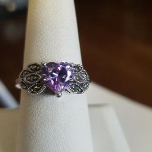 PURPLE faceted HEART & Marcacite COCKTAIL Ring sz9